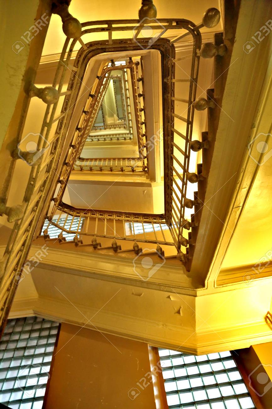 Old Stone Staircase With A Handrail In A Building Without An Elevator Stock  Photo   68257794