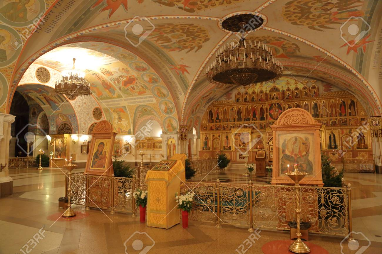 Moscow Russia January 10 2017 Inside The Cathedral Of Christ