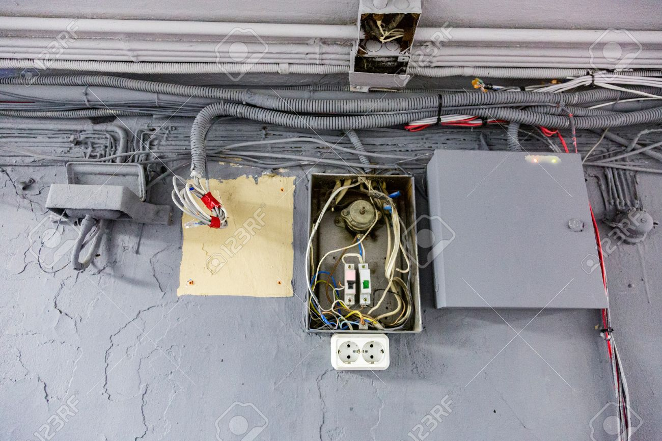 Old Open Broken Panel For Electricity Distribution Stock Photo ...