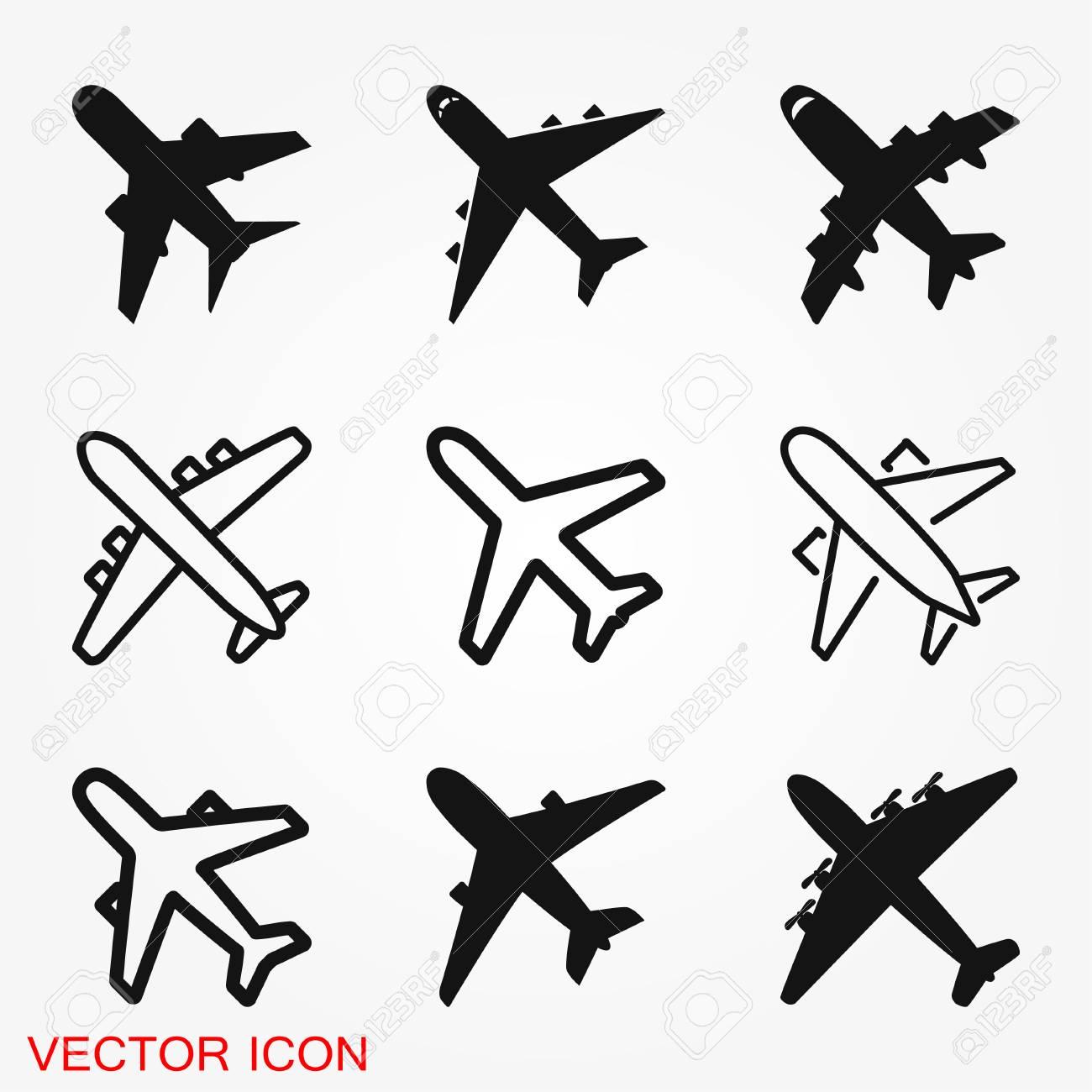 Plane Icon On White Background Airplane Icon Vector Flat Icon