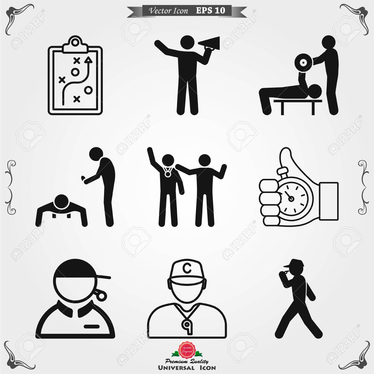 Coach icon vector, training and mentoring symbol - 124249991