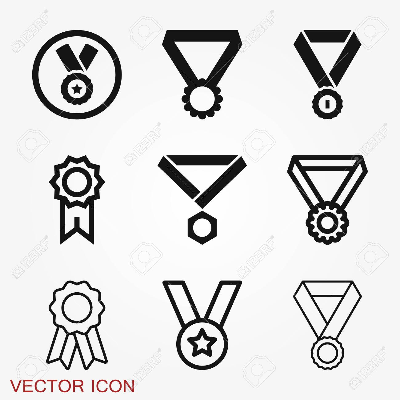 Medal icon isolated on background. Vector illustration. Flat design. - 141870527