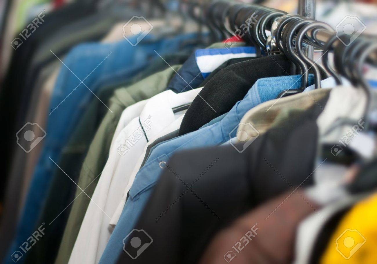 old clothes on second hand market - 18404353