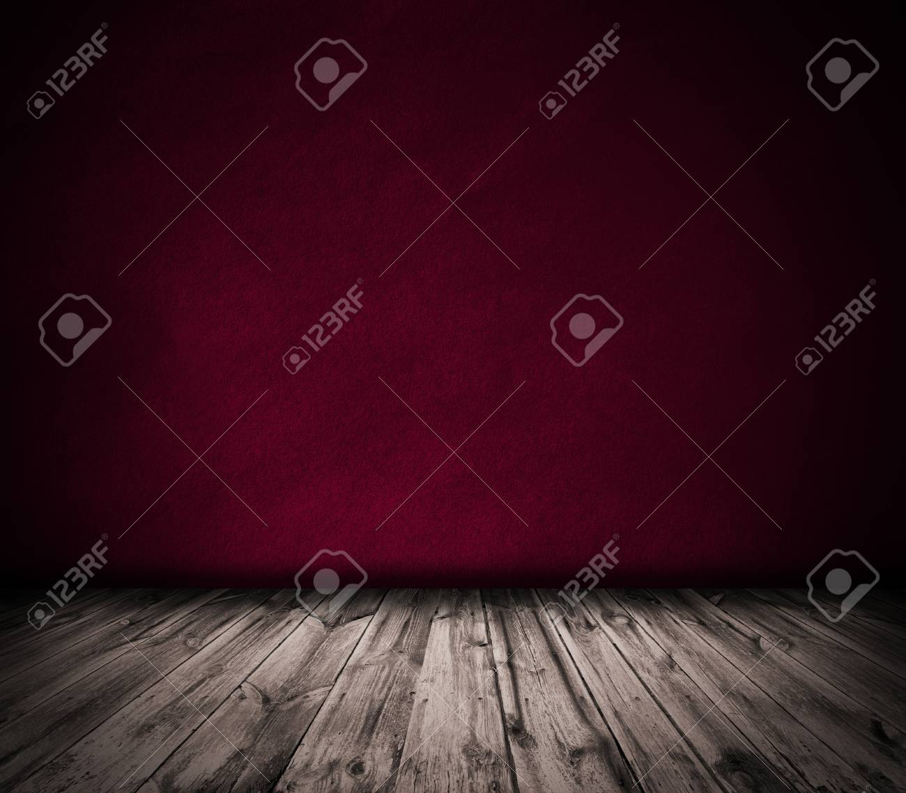 Red wall and wooden floor interior background - 36295723