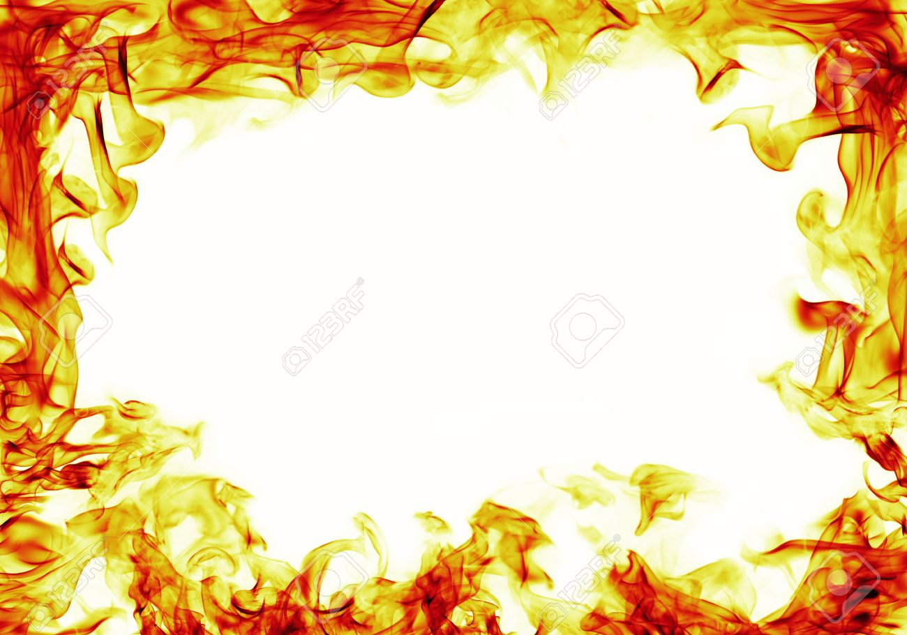 fire flames frame on white background - 36295980
