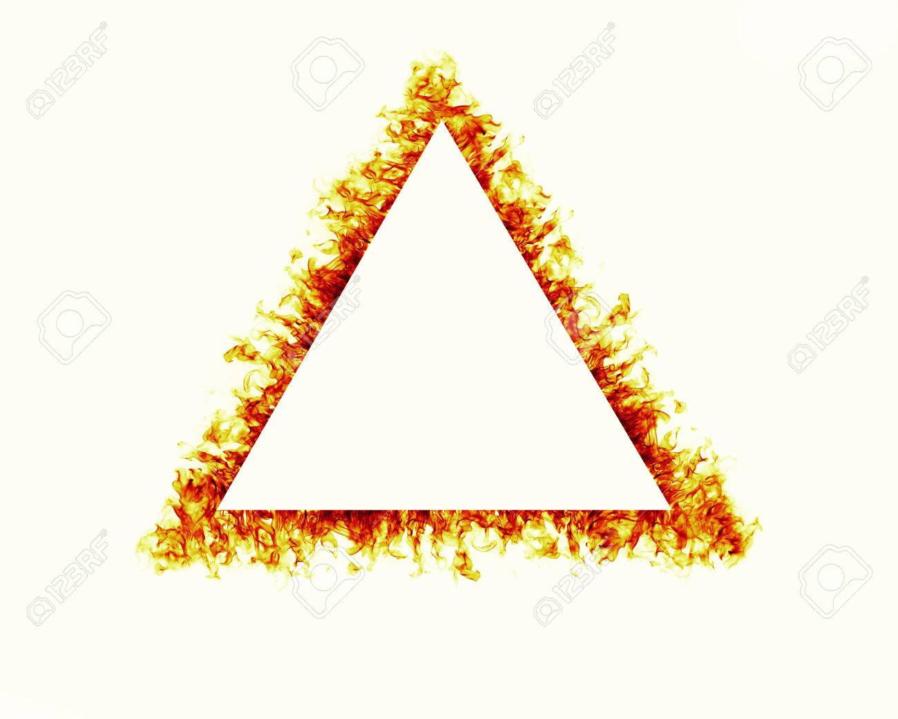 Triangle Fire Flames Frame On White Background Stock Photo, Picture ...