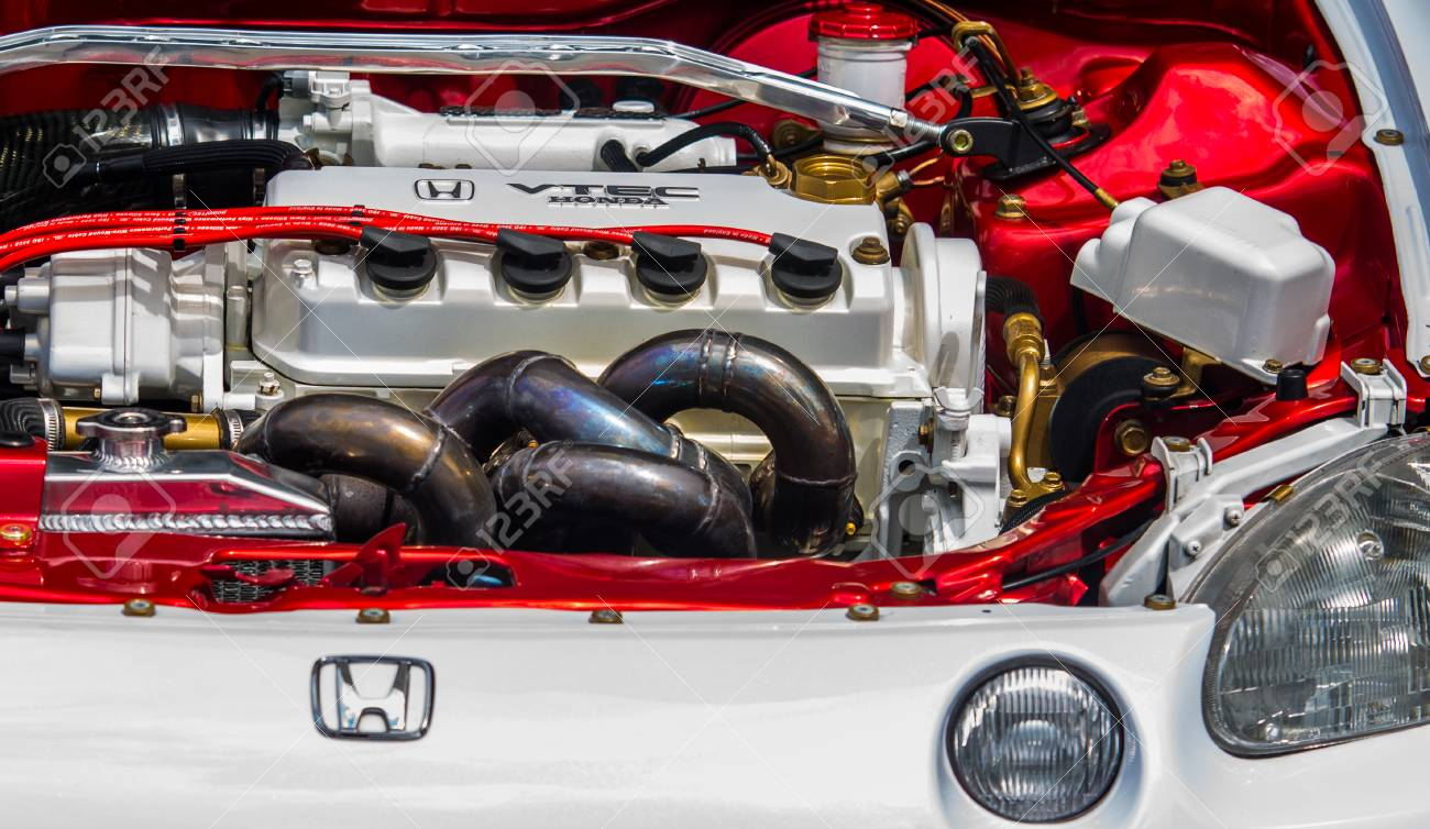 Wroclaw, Poland - July 9 :close up on Honda VTEC engine on Raceism