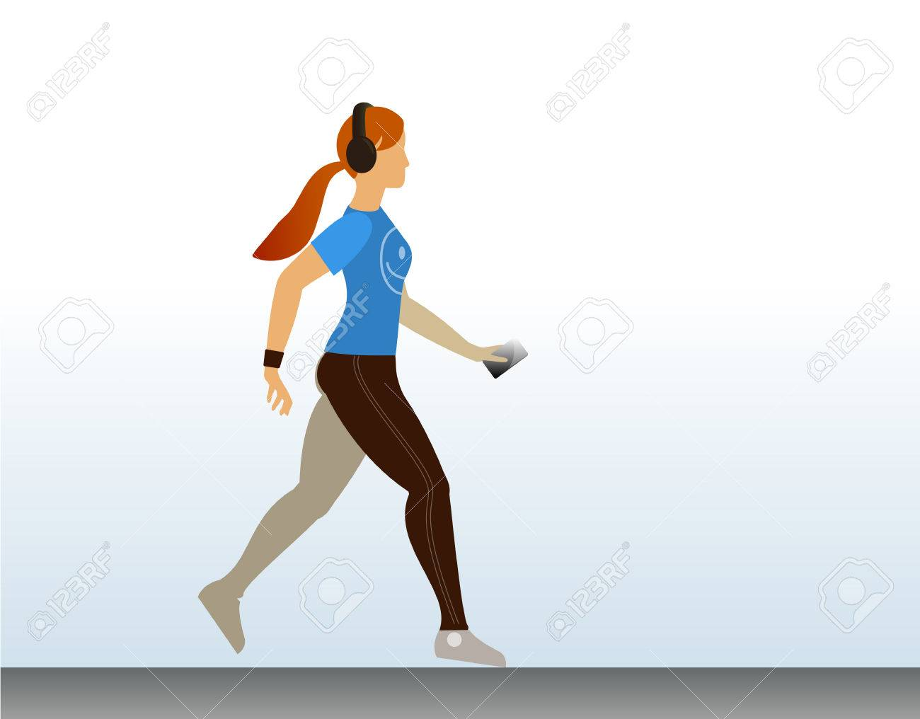 Cute Sport Girl Running With Music In Her Headphones. Morning ...