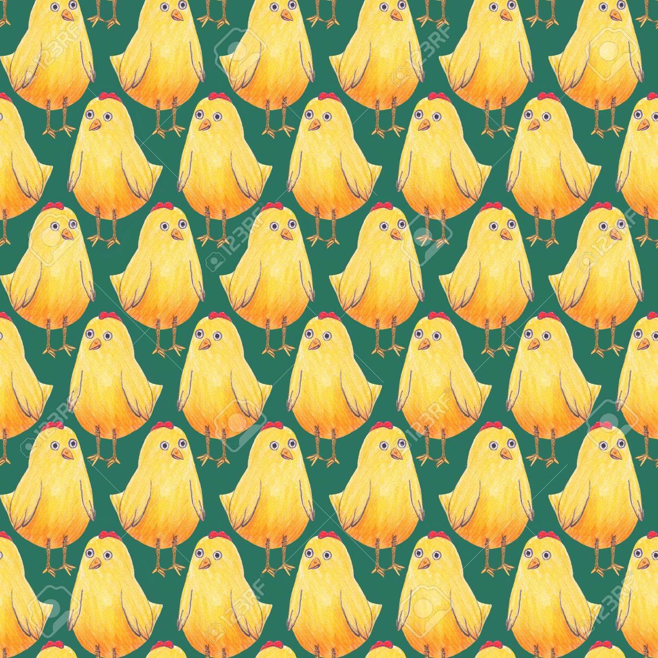 Modelo Inconsútil De Pascua De Fondo Con Pequeños Pollos Amarillos ...