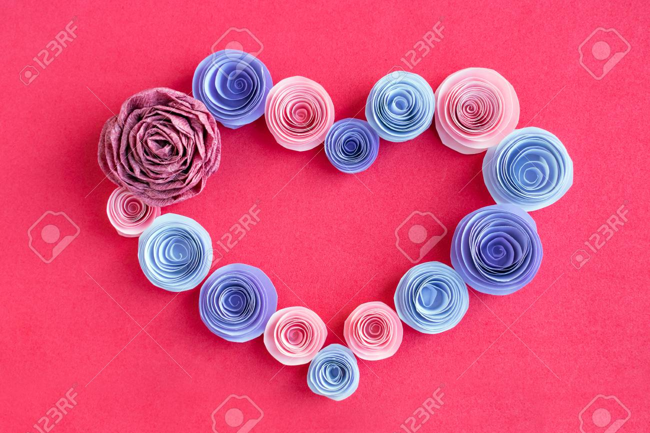 Handmade Paper Flowers Heart Frame On A Pink Background Beautiful