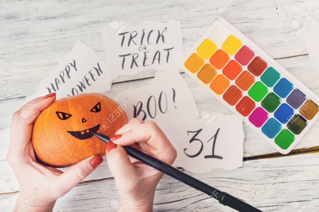 Fall Halloween Crafts Female Hands Draw Jack Oâ Lanterns On