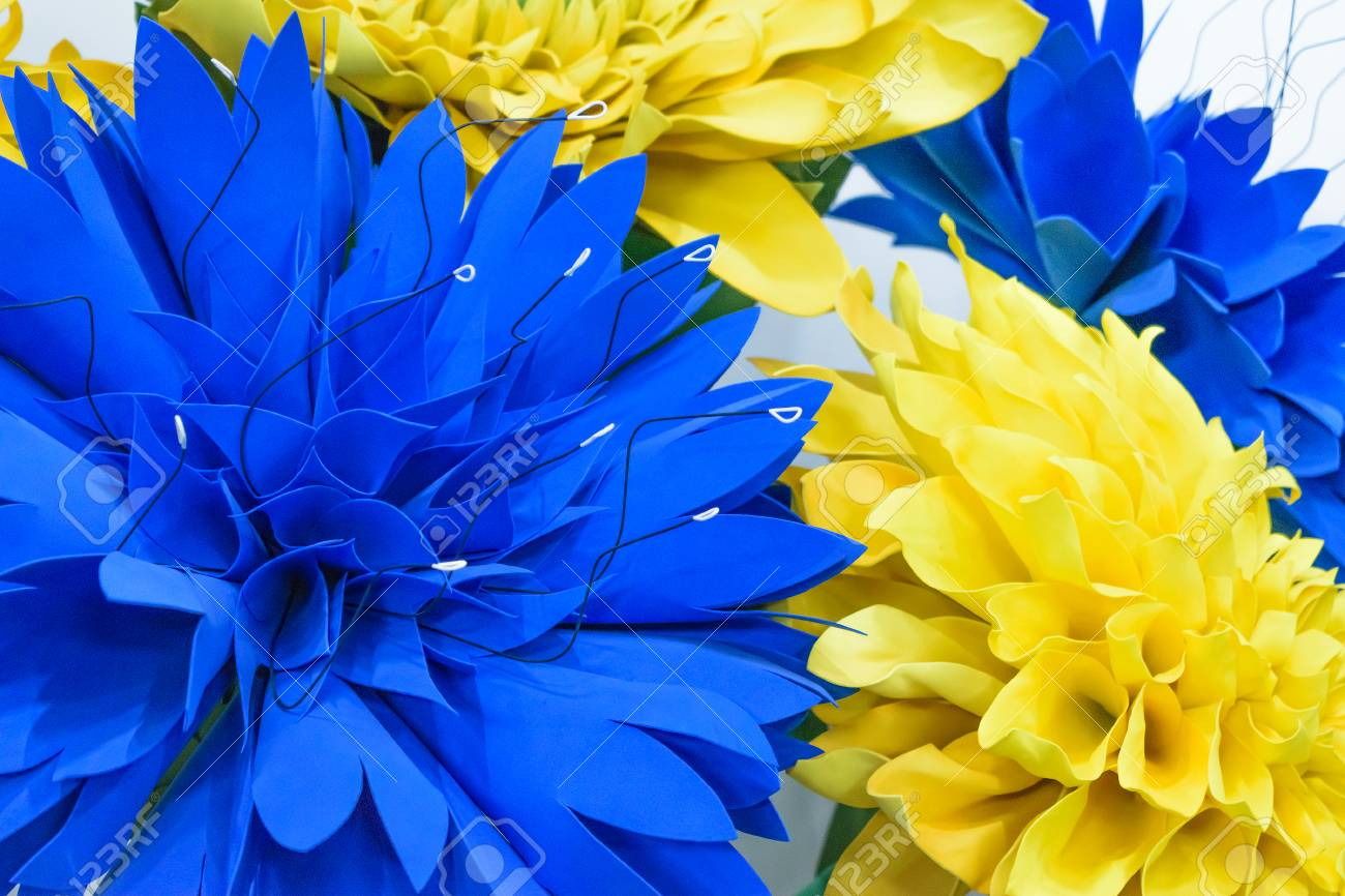 Large Giant Paper Flowers Big Blue And Yellow Dahlias Made From