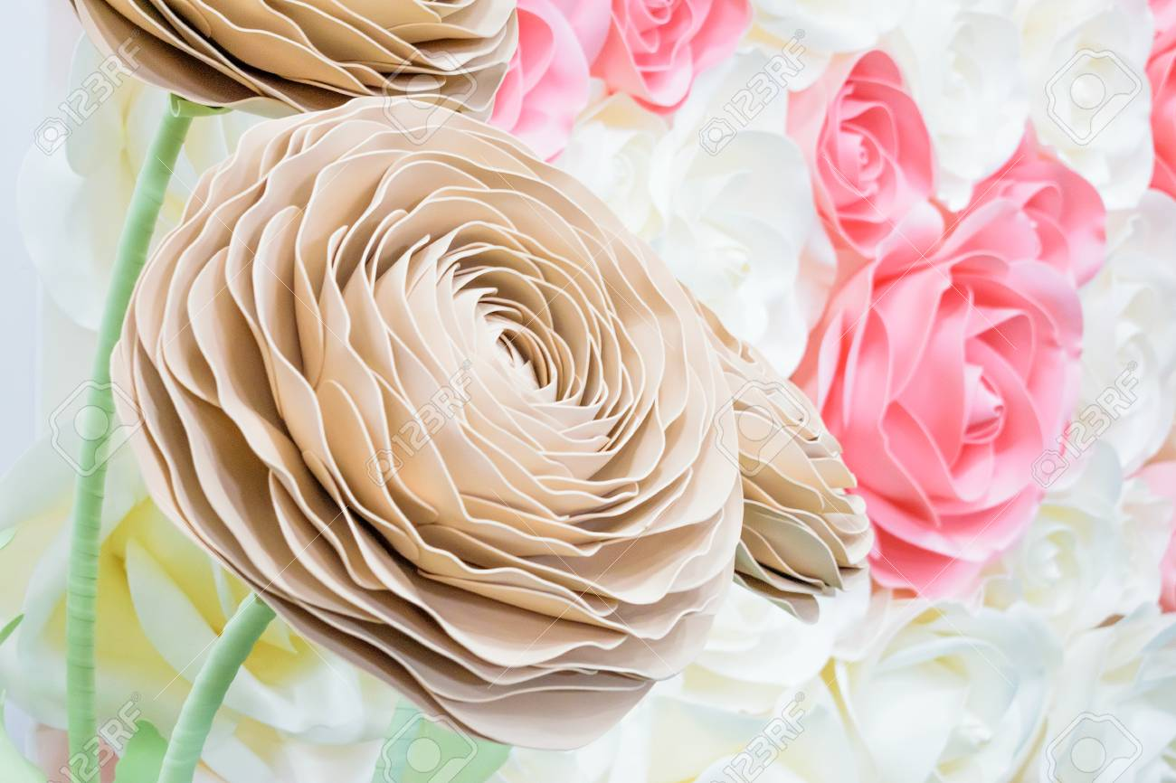 Large Giant Paper Flowers Big Pink White Beige Rose Peony