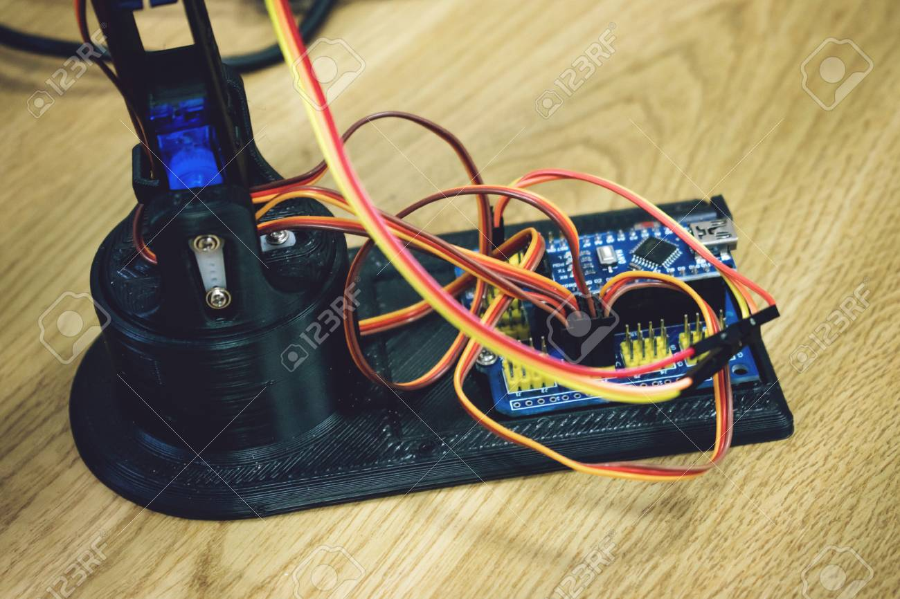 3d Printed Robot Arm With Wires And Control Board Plastic Manipulator