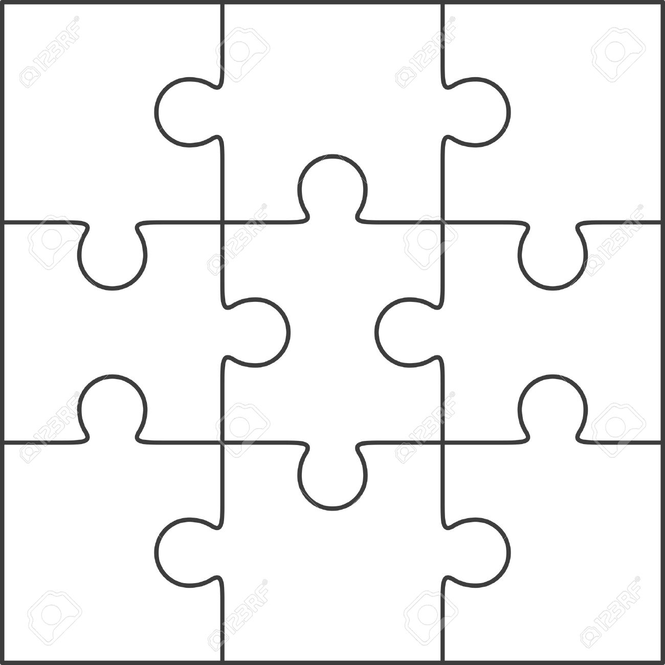 jigsaw puzzle vector blank simple template 3x3 royalty free rh 123rf com vector puzzle free vector puzzle piece template