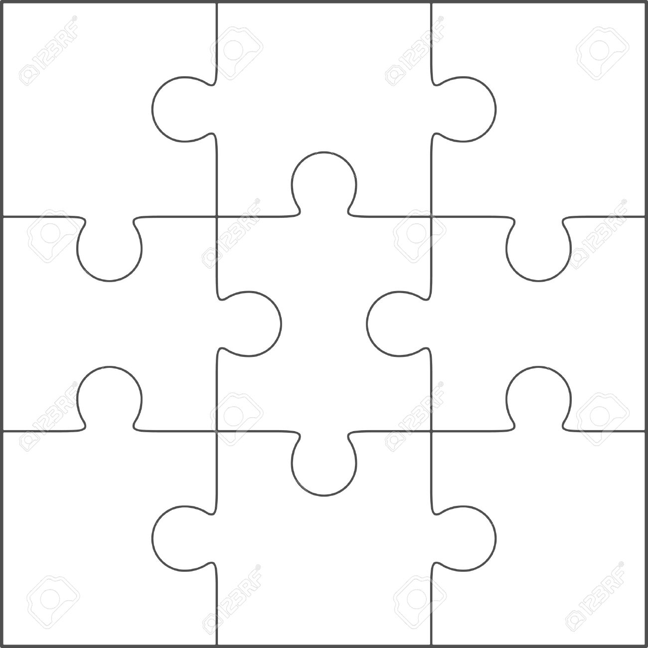 Jigsaw Puzzle Vector Blank Simple Template 3x3 Royalty Free