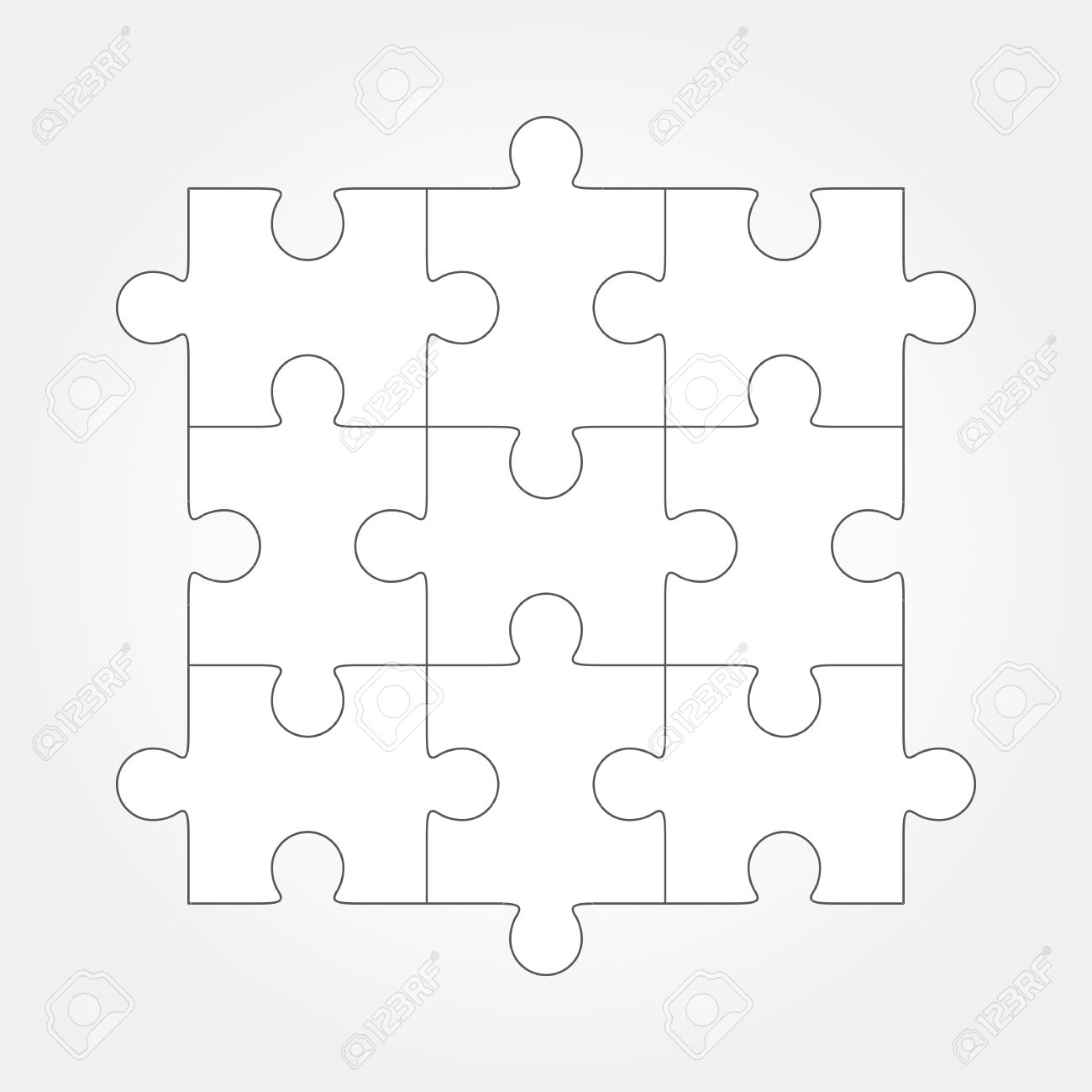 Jigsaw Puzzle Blank Simple Vector 9 Pieces Are Easy To Separate Every