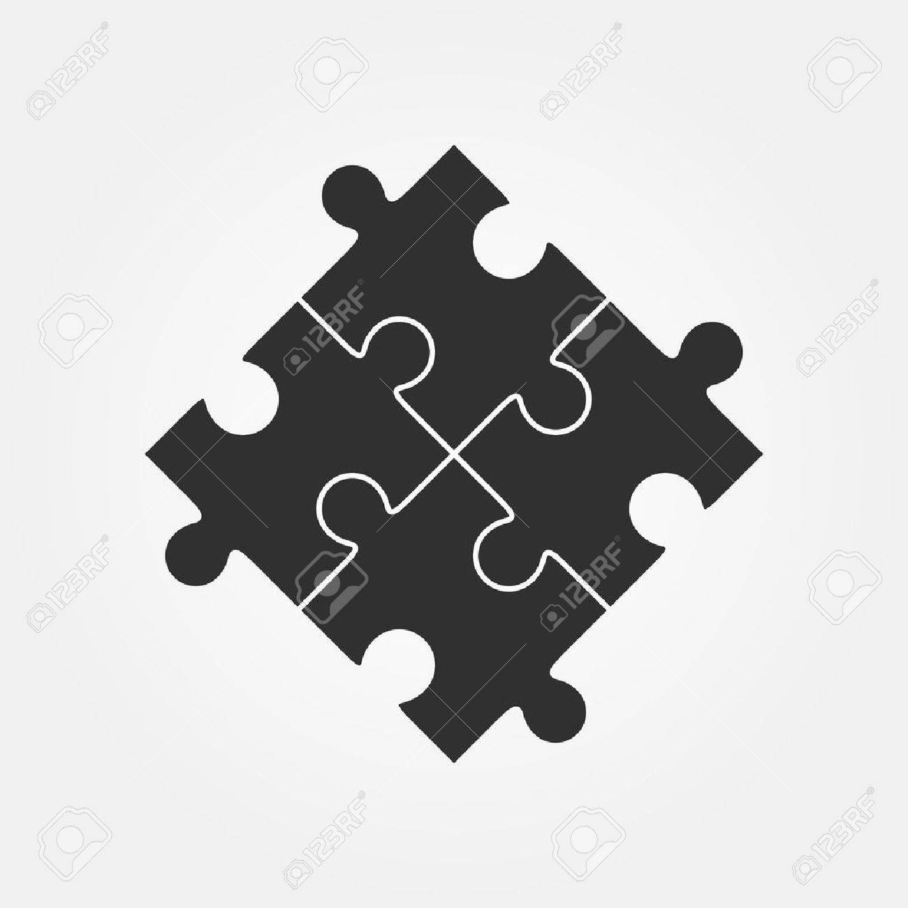Four Puzzle Pieces Vector Illustration, Isolated On White Background ...
