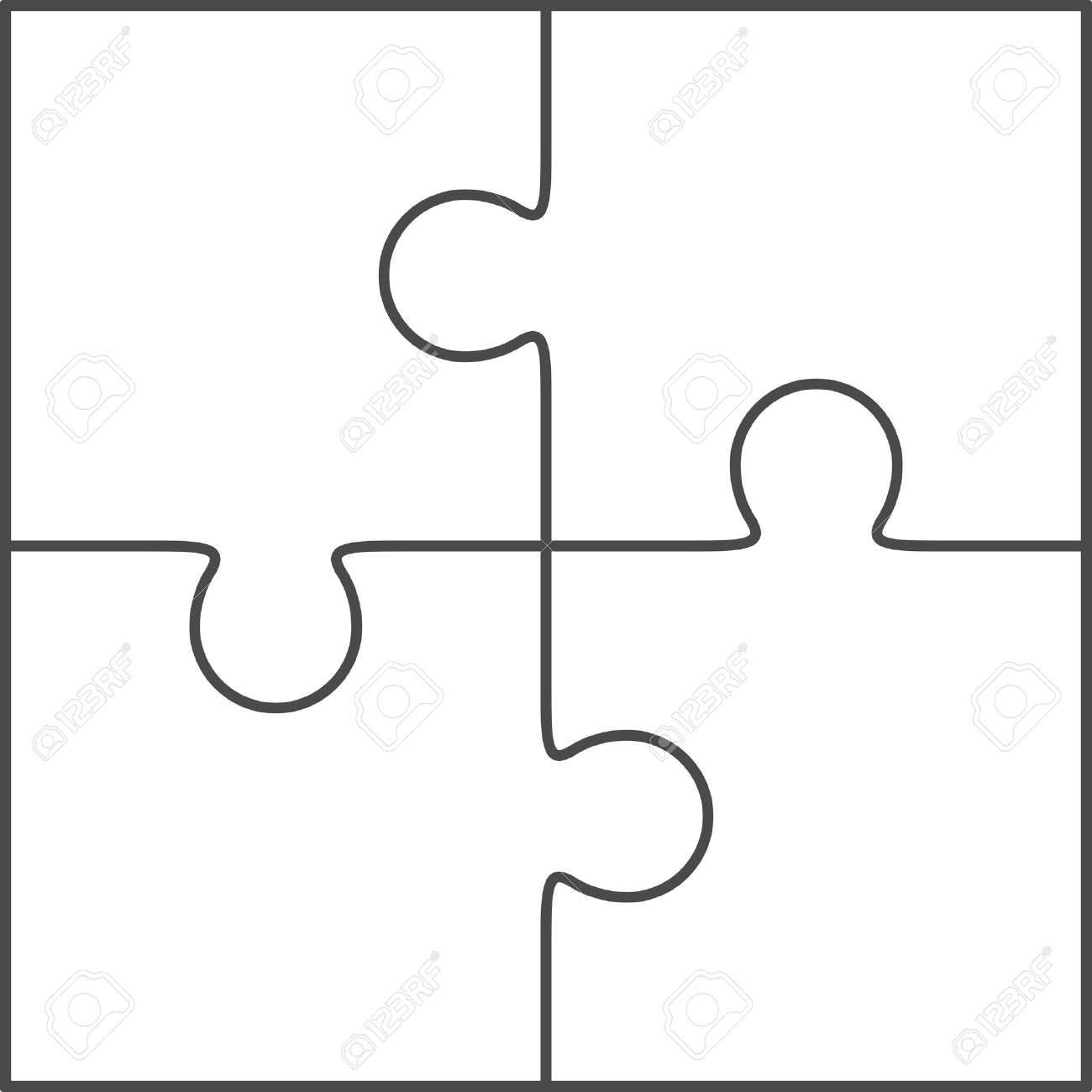 Jigsaw Puzzle Vector Blank Simple Template 2x2 Four Pieces – Blank Puzzle Template