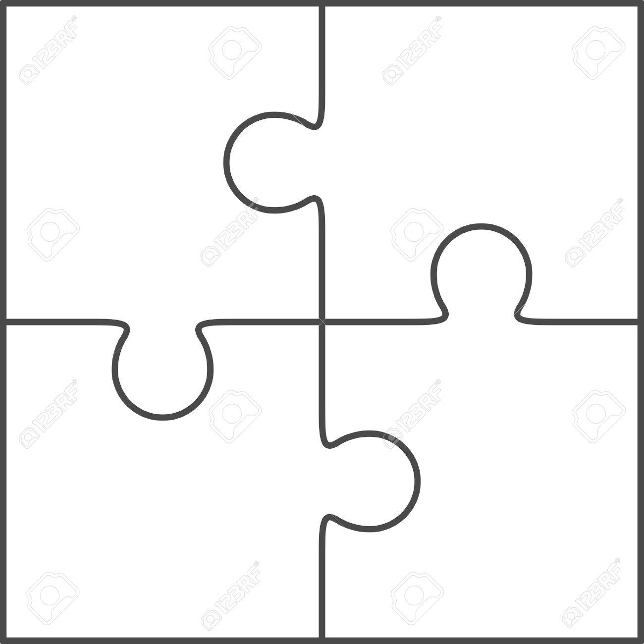 Jigsaw Puzzle-Vektor, Leere Einfache Vorlage 2x2, Vier Stücke ...