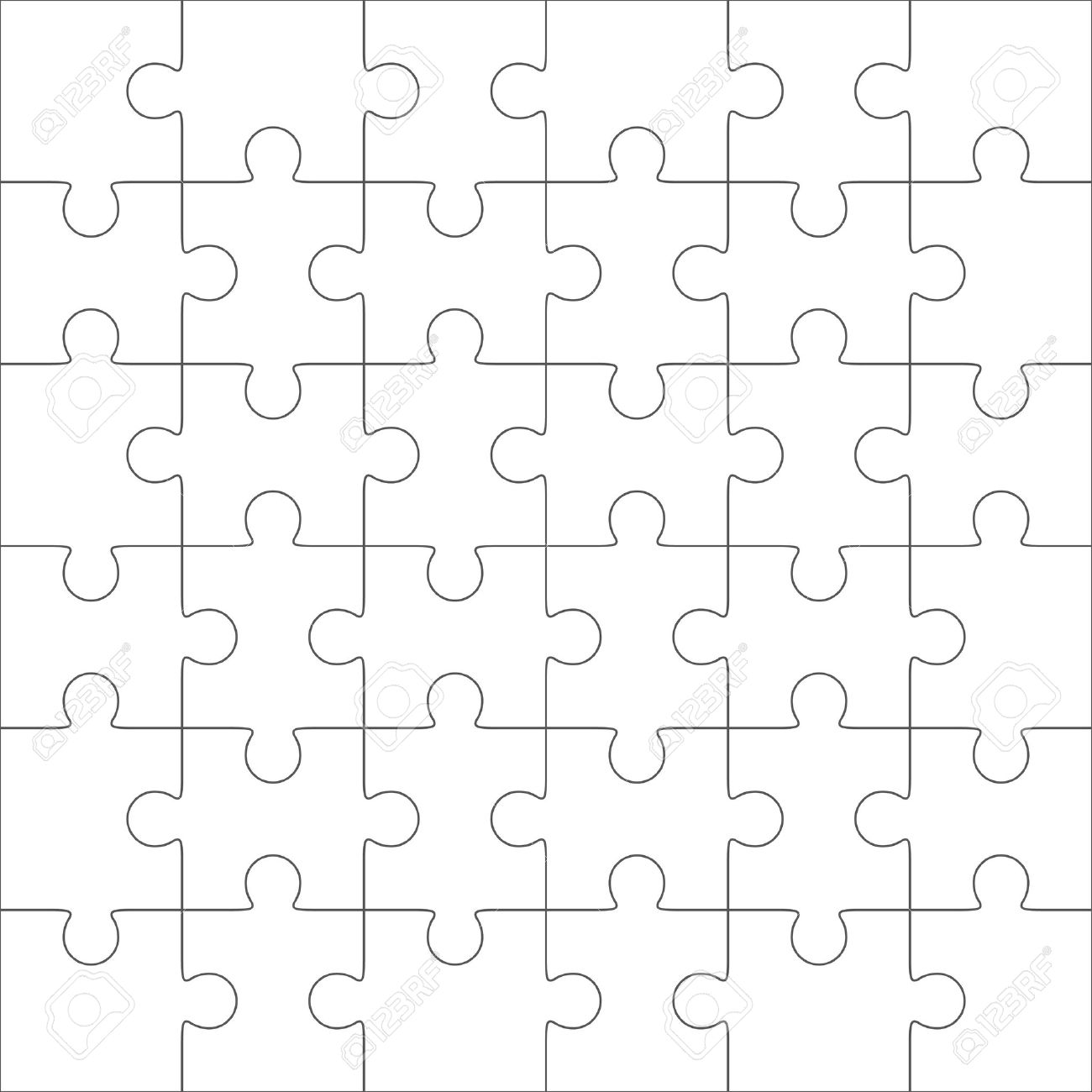Jigsaw Puzzle Vector Blank Simple Template 36 Pieces Stock
