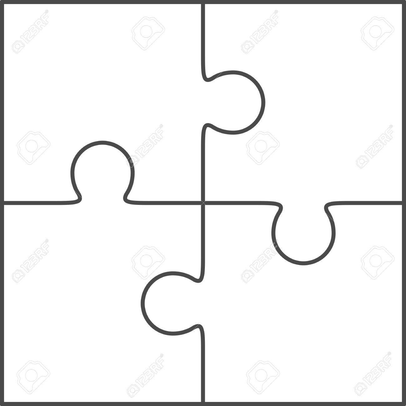Jigsaw Puzzle Vector Blank Simple Template 2x2 Four Pieces Stock