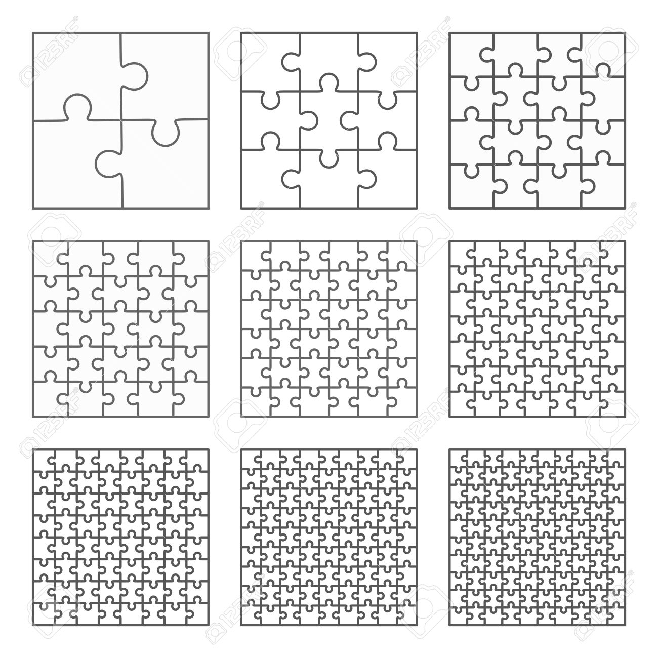 Jigsaw Puzzle Nine Vector Templates Set Of Different Blank Simple ...