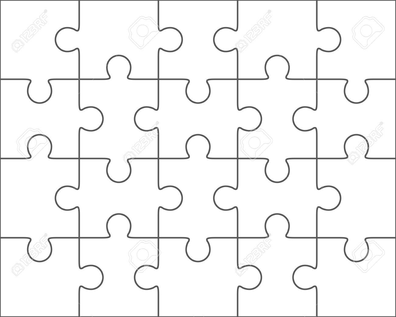 Jigsaw Puzzle Vector Blank Simple Template 4x5 Twenty Pieces Stock