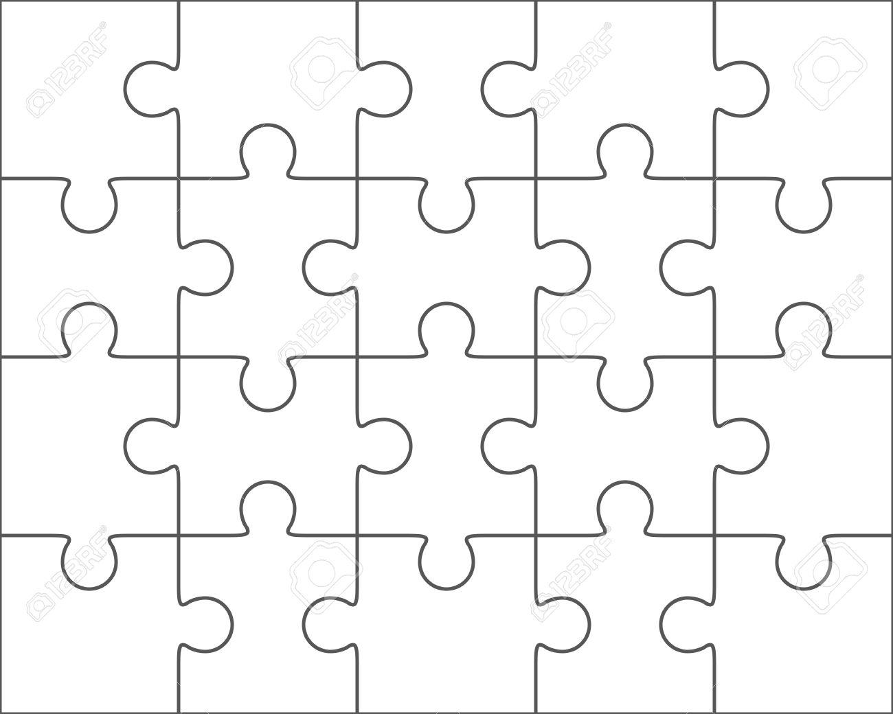Jigsaw Puzzle-Vektor, Leere Einfache Vorlage 4x5, Zwanzig Stück ...