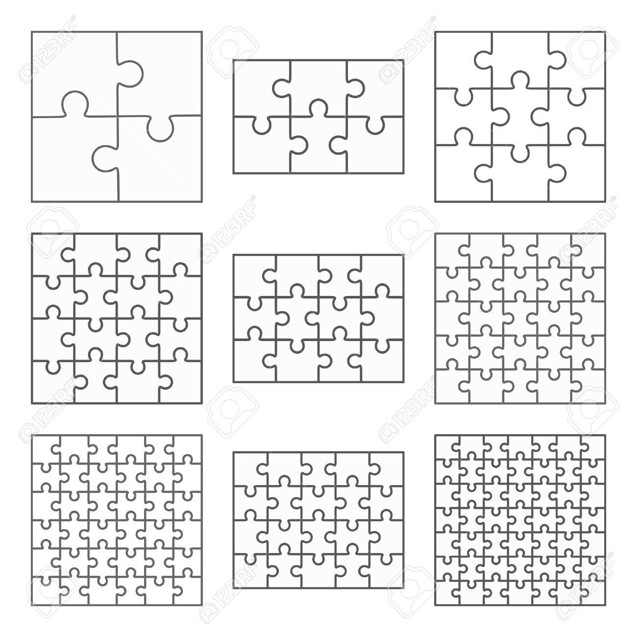 Puzzle Neun Vektor-Vorlagen Satz Von Verschiedenen Leere Einfache ...