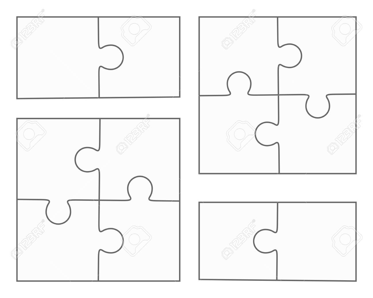 Jigsaw Puzzle-Vektor, Leere Einfache Vorlagen, Vier Stücke, Zwei ...