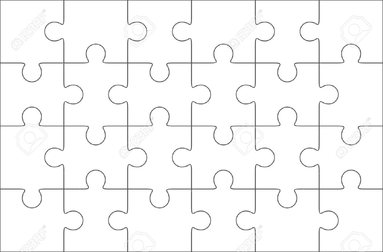 Jigsaw Puzzle Blank Template 6x4 Elements, Twenty Four Puzzle ...