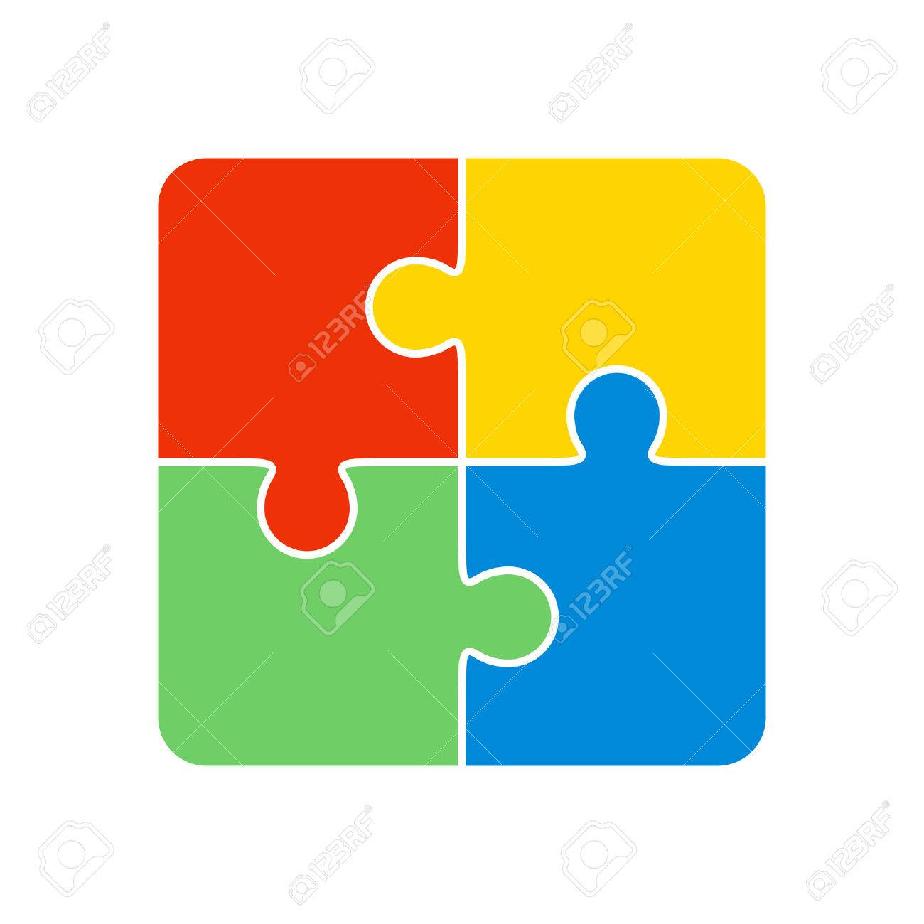 Colorful Jigsaw Puzzle Vector Four Pieces Isolated Stock