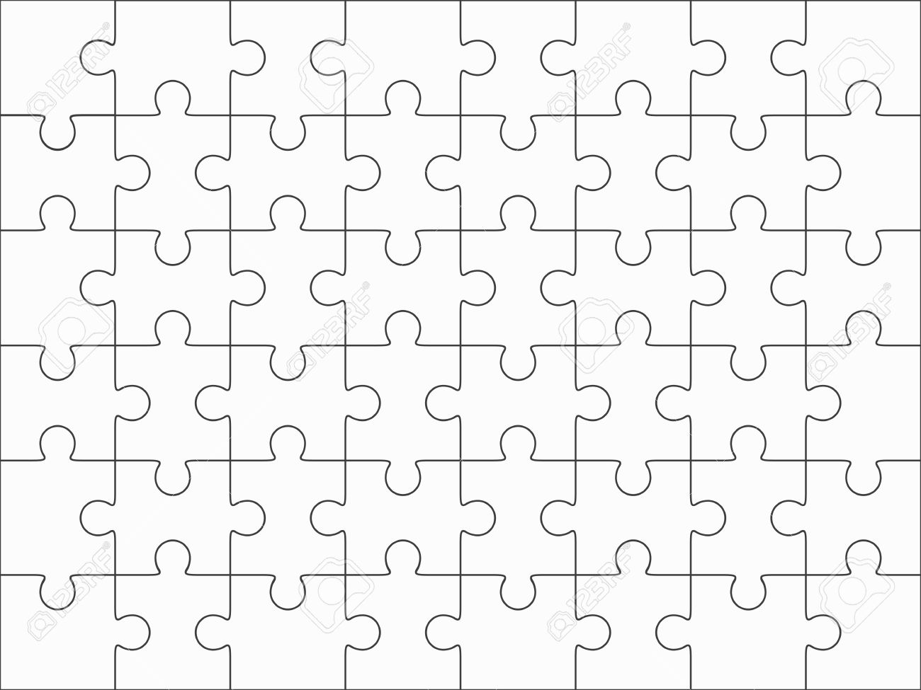 Jigsaw Puzzle Blank Template 6x8 Elements Fourty Eight Pieces Vector Illustration