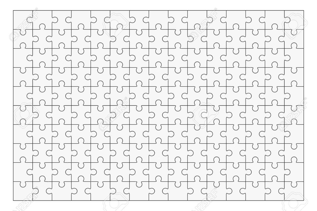 Jigsaw Puzzle Vector Blank Simple Template 150 Pieces Stock
