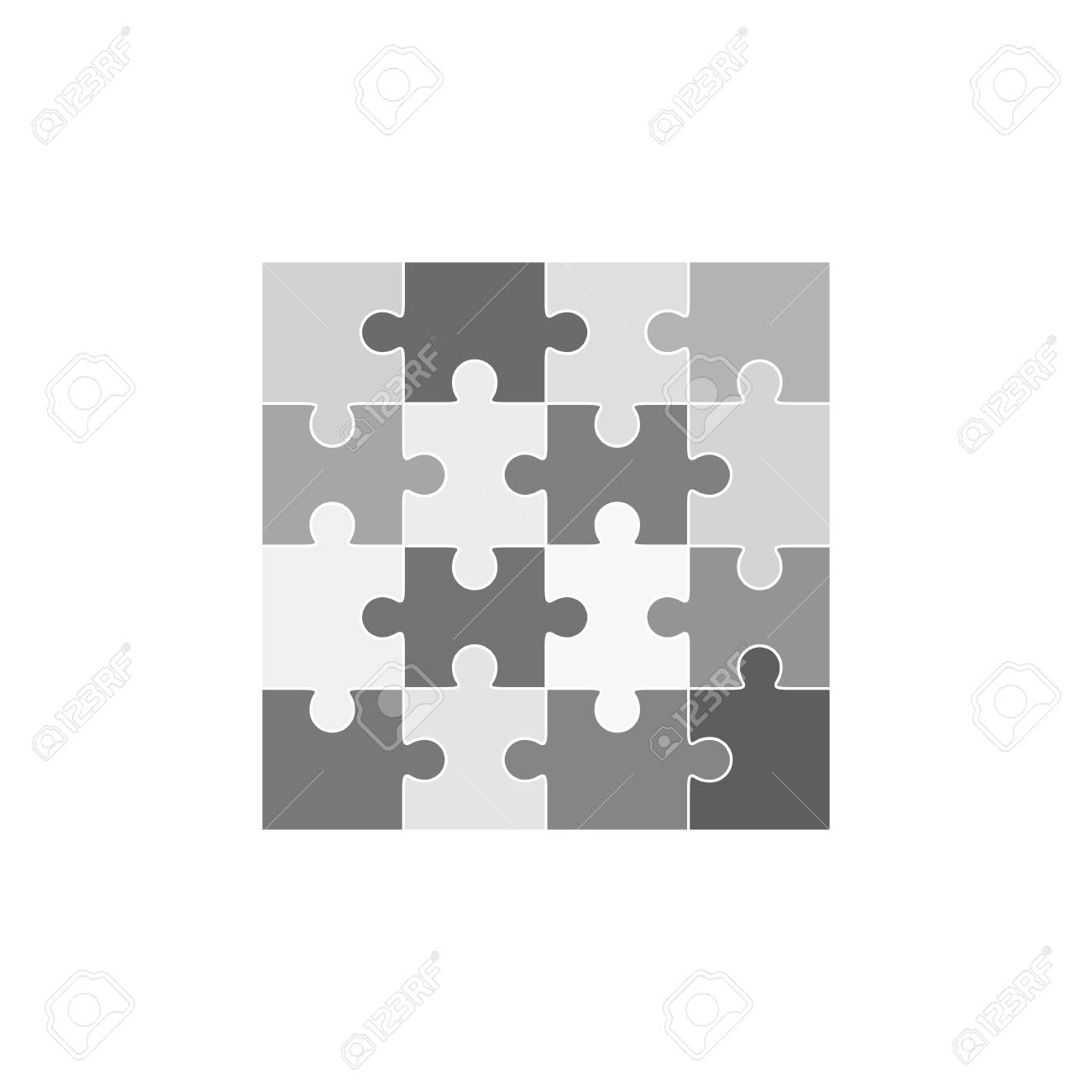 Jigsaw Puzzle Vector, Blank Simple Template Sixteen Elements Royalty ...