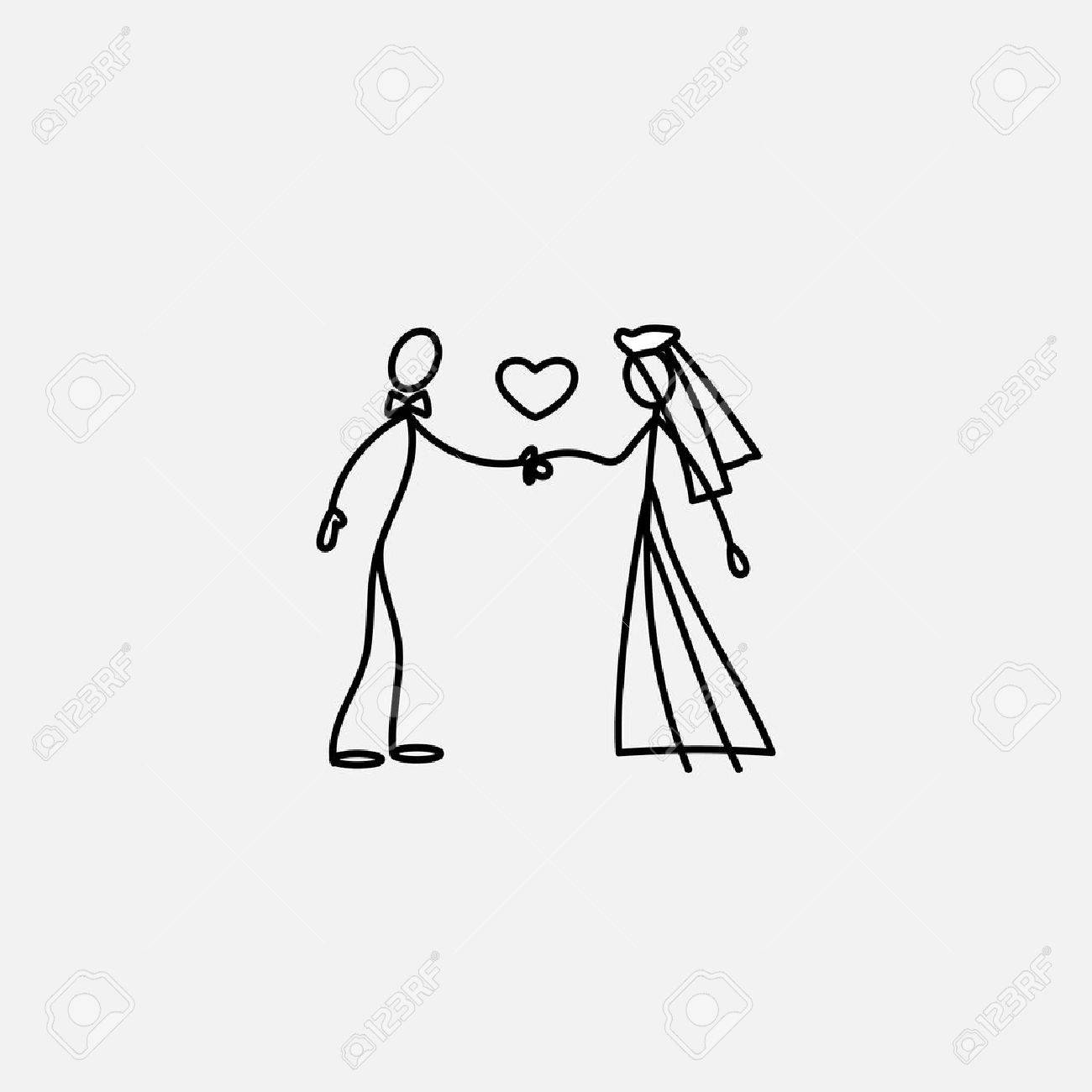 wedding happy family icon stick figure vector royalty free cliparts