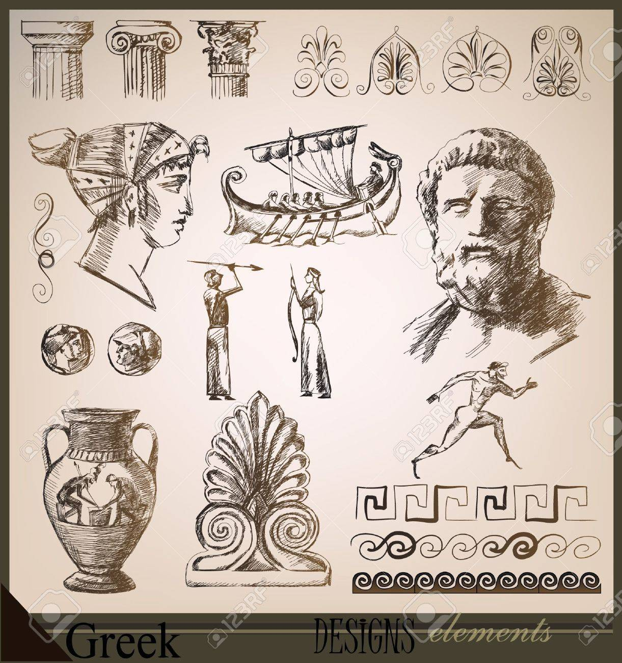 vector collection of design elements ancient rome - Ancient Rome Designs