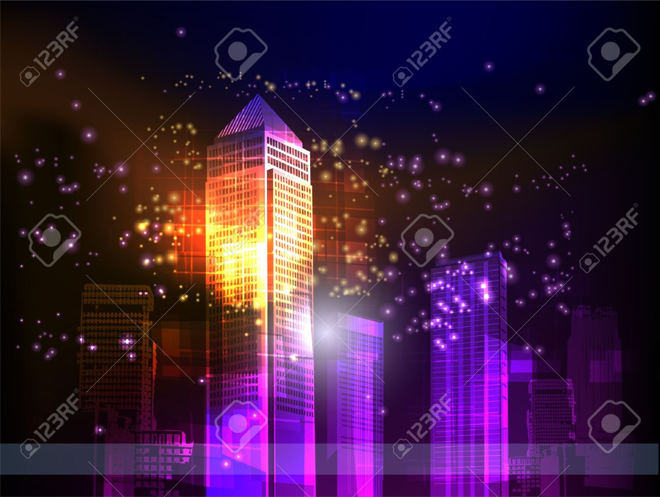 night city neon collection Stock Vector - 10375531