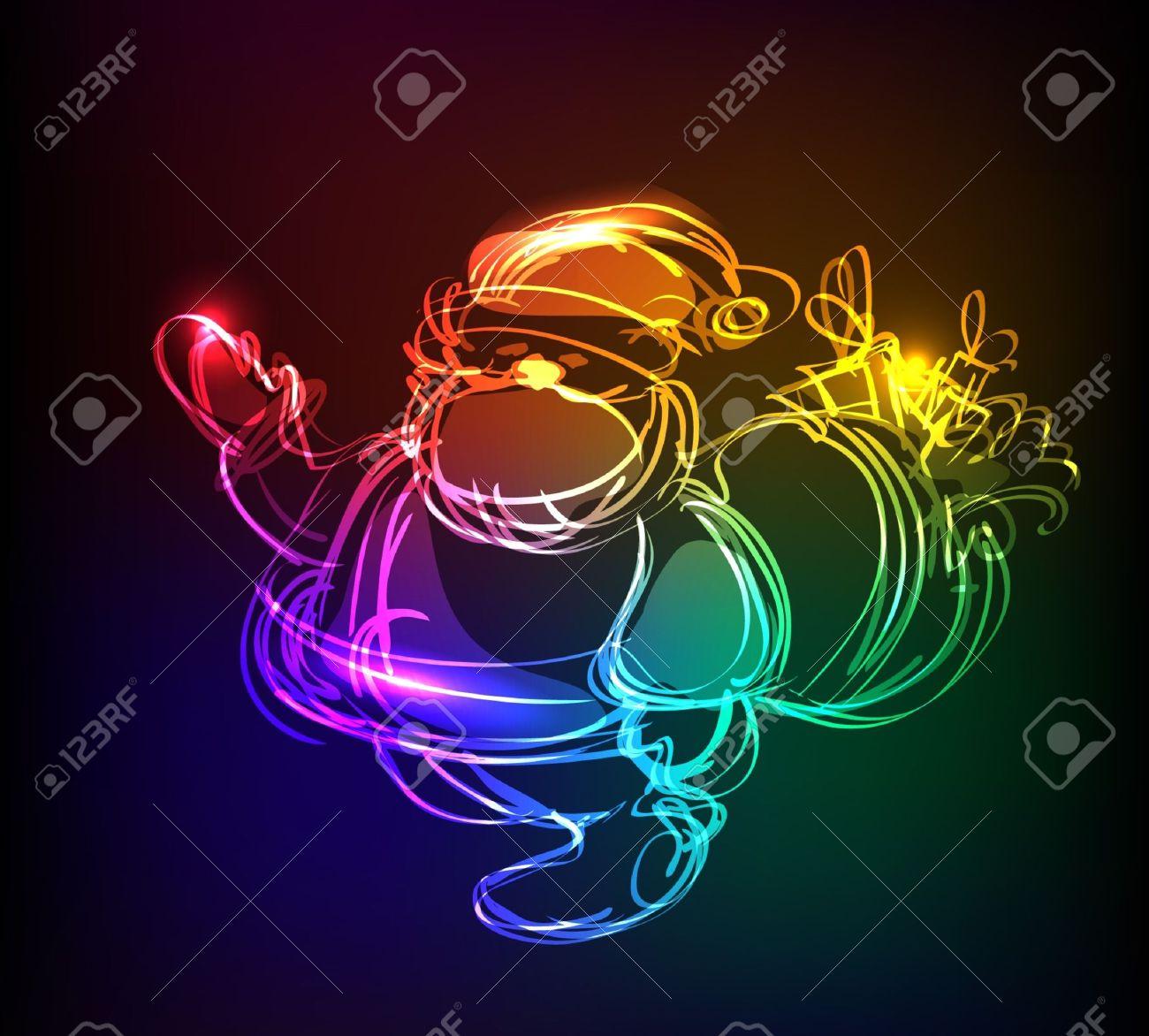 neon Santa Stock Vector - 10375452