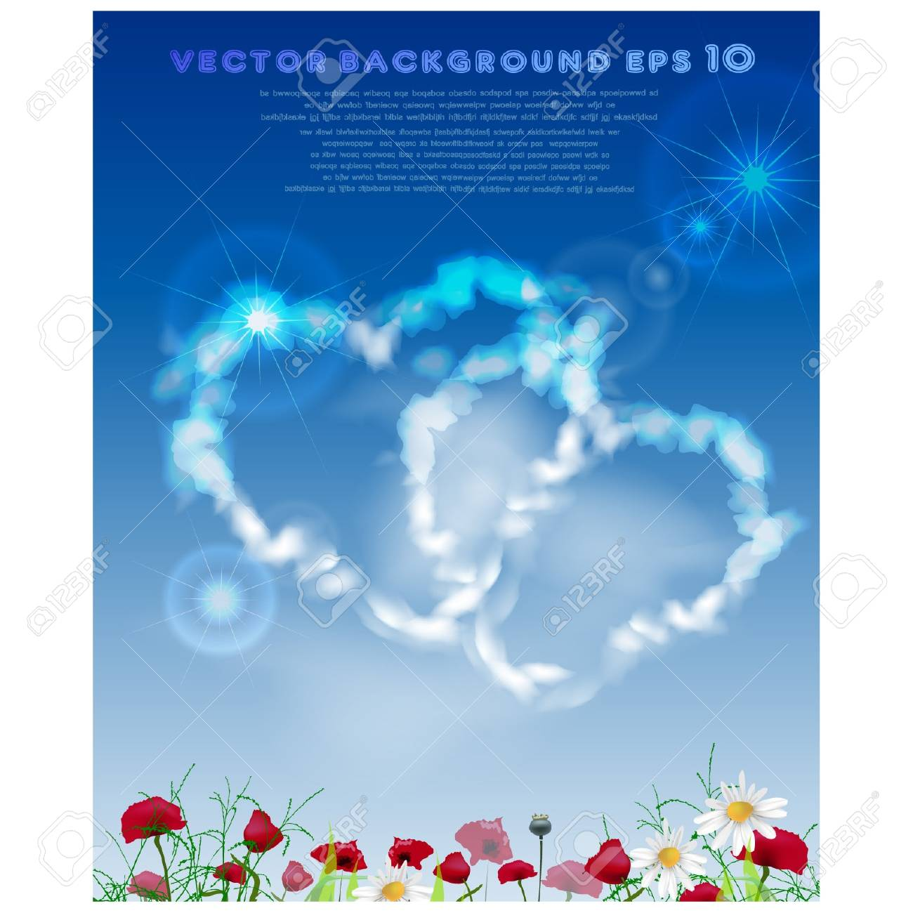 Hearts made of clouds Stock Vector - 10375468