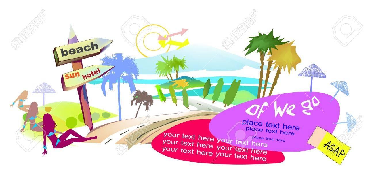 beach time Travel banner Stock Vector - 10386525