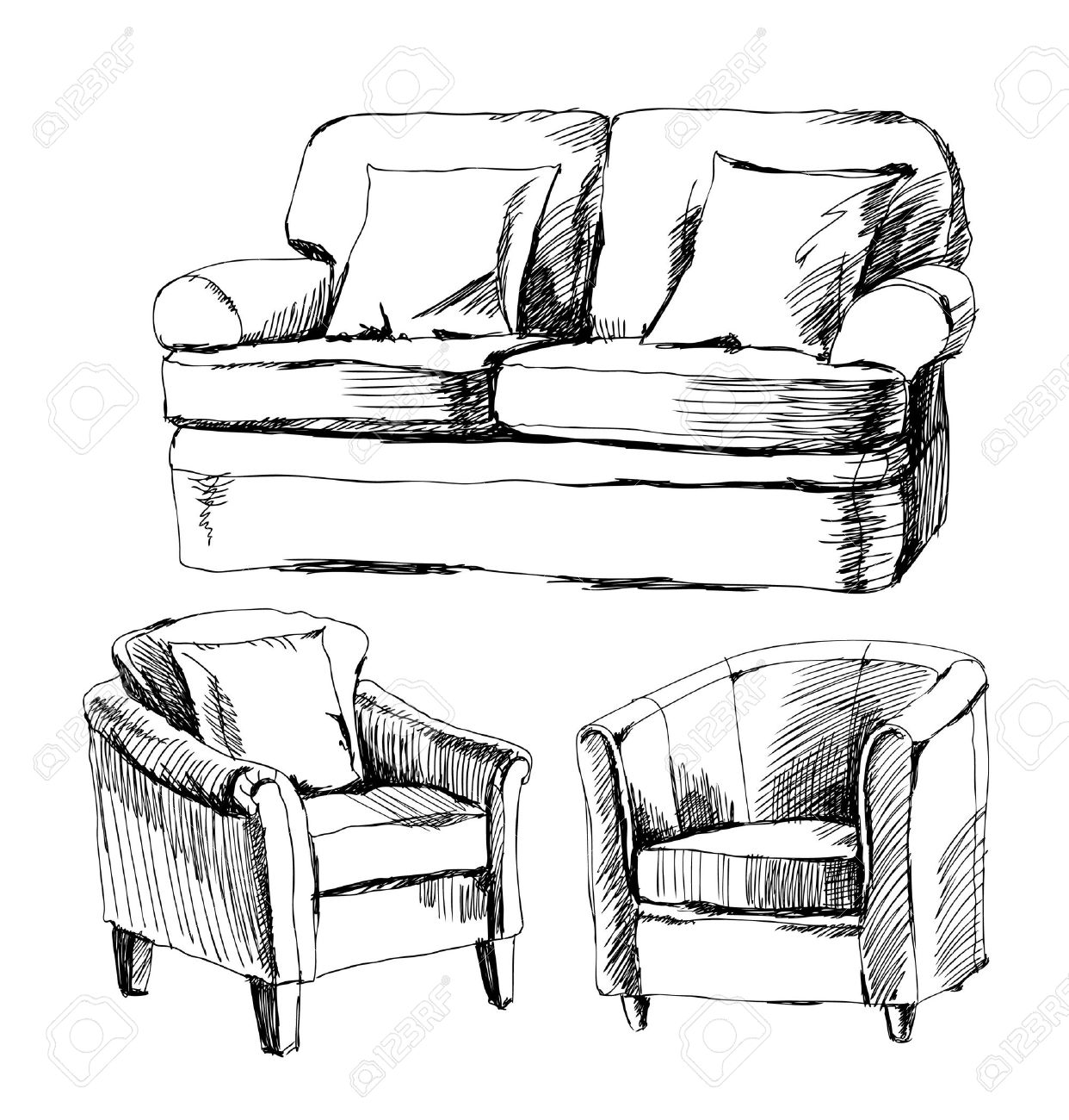 Modern furniture sketches chair sketches - Modern Couch Doodle Of Furniture