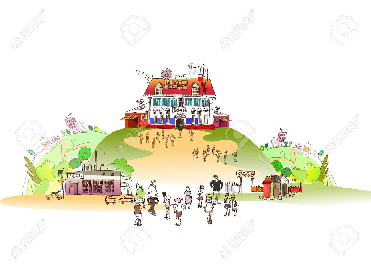 school on the hill Stock Vector - 10402944