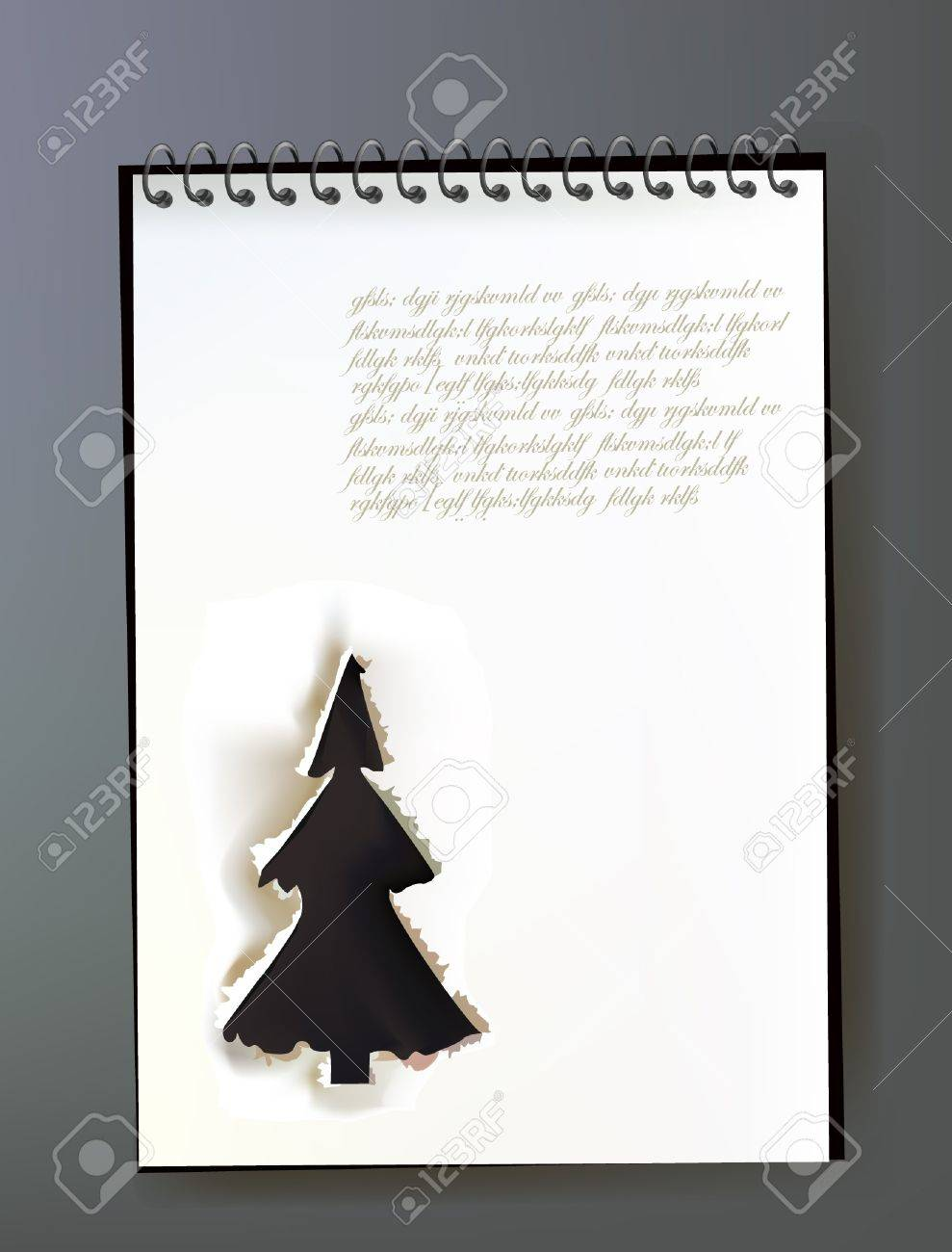 note page with ripped design CHRISTMAS TREE Stock Vector - 10678894