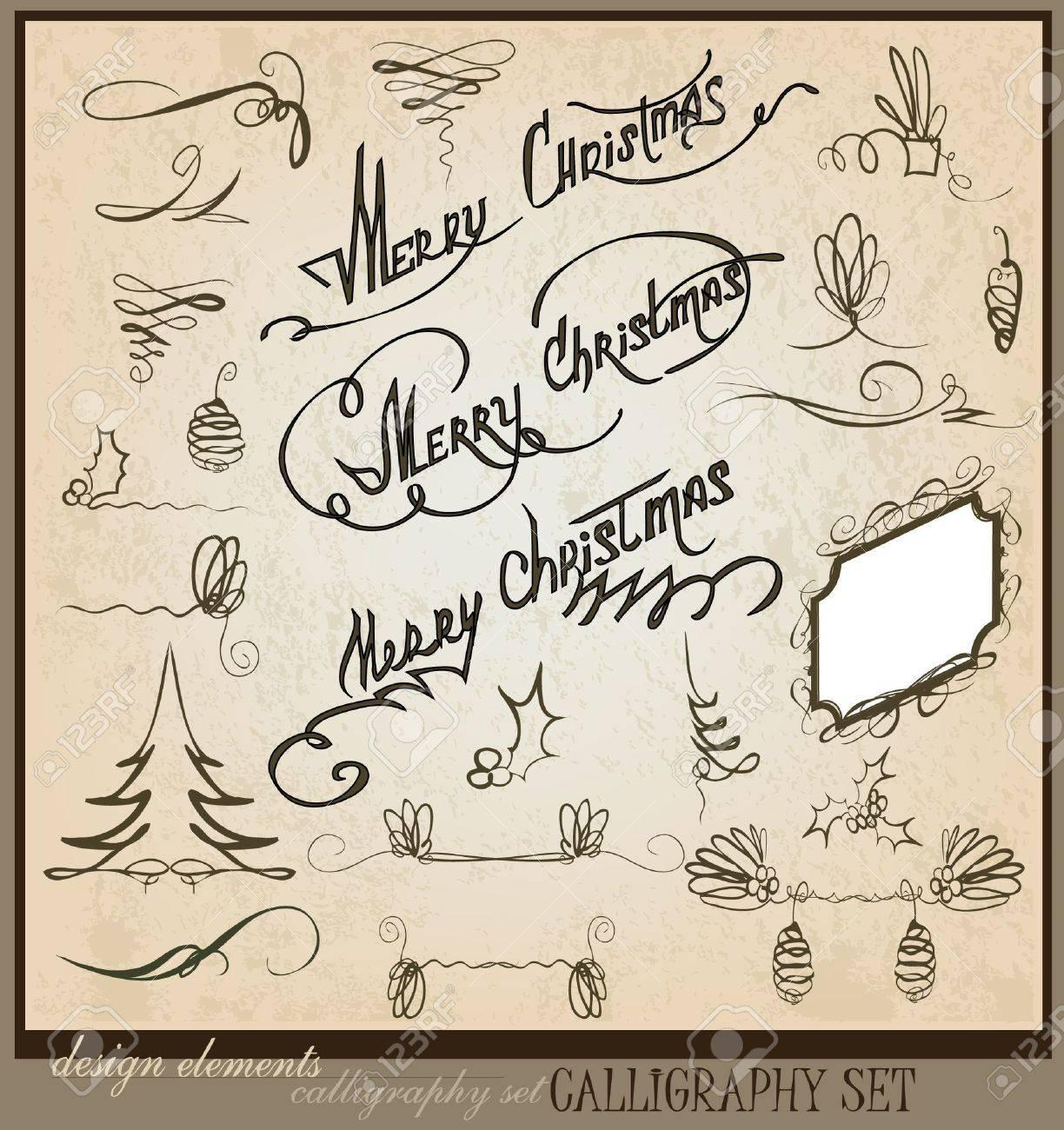 Merry Christmas calligraphic set Stock Vector - 10708336