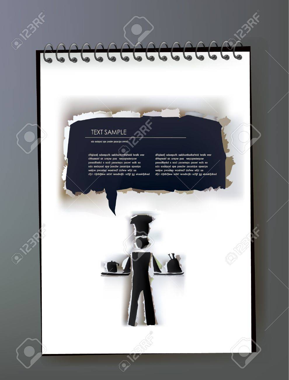 Notepad with ripped paper design of cook and bubble Stock Vector - 10830061
