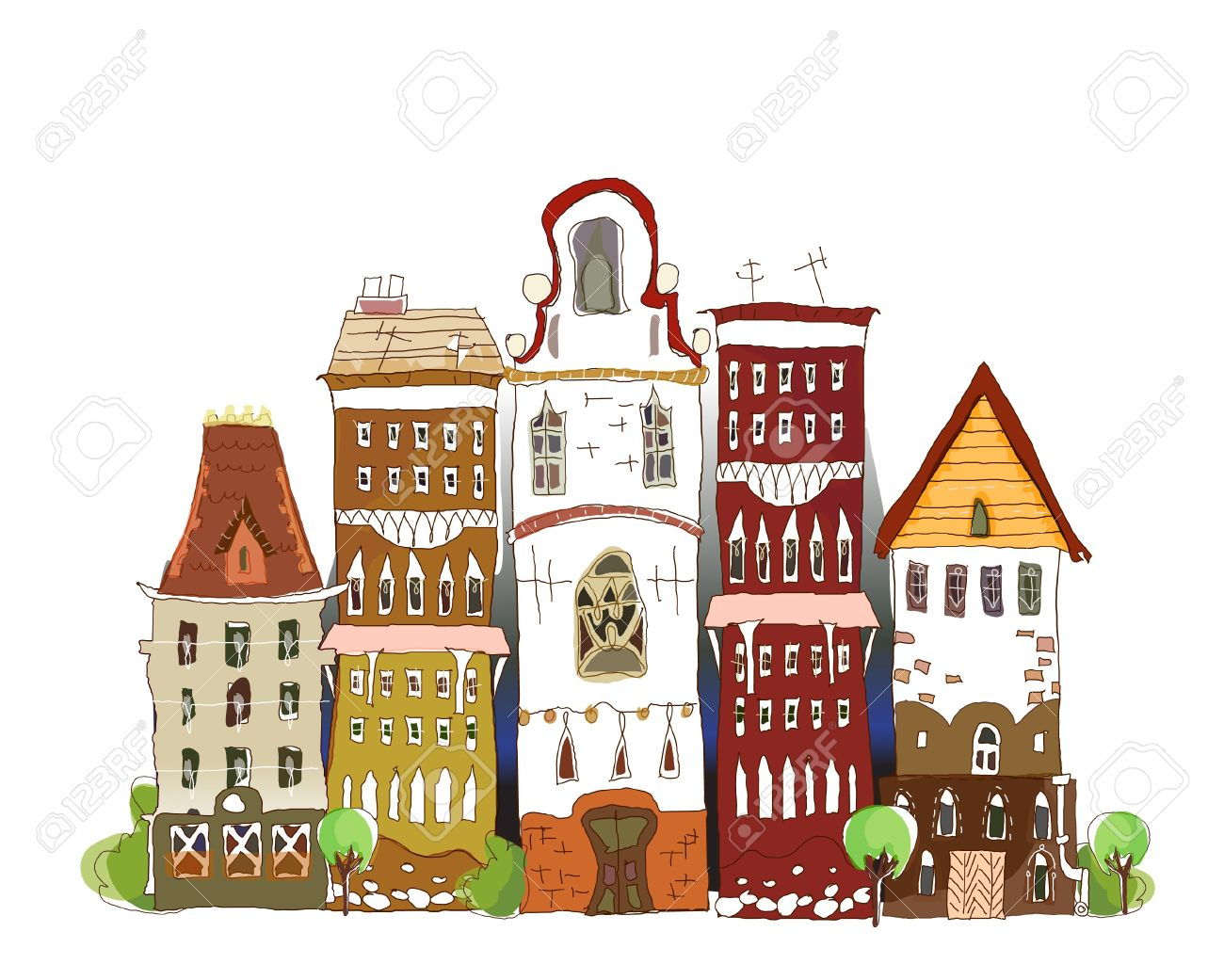 old street with historic houses Stock Vector - 11078045