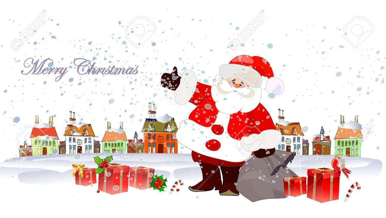 Santa Clause and lots of presents Stock Vector - 11137351