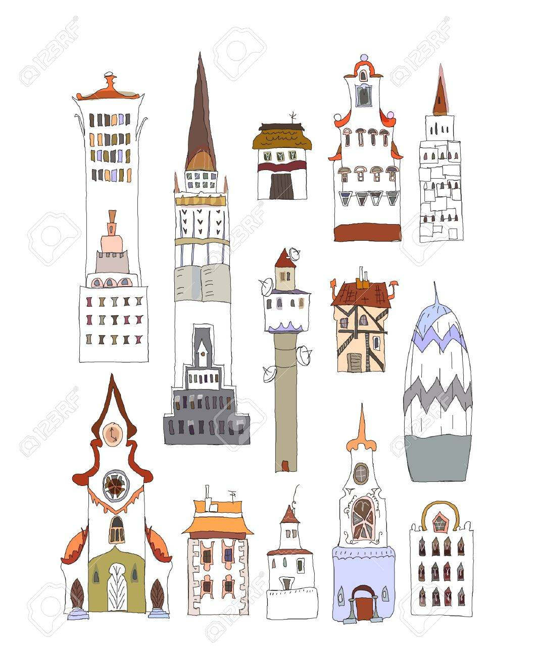 City buildings set Stock Vector - 11137345